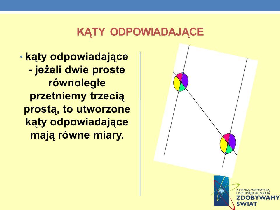 Kąty odpowiadającekąty odpowiadające - jeżeli dwie proste równoległe przetniemy trzecią prostą, to utworzone kąty odpowiadające mają równe miary.