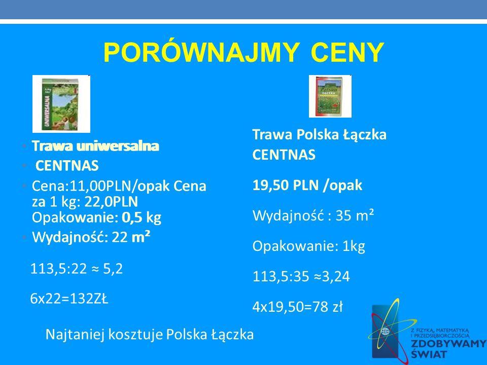PORÓWNAJMY CENY Trawa Polska Łączka CENTNAS 19,50 PLN /opak