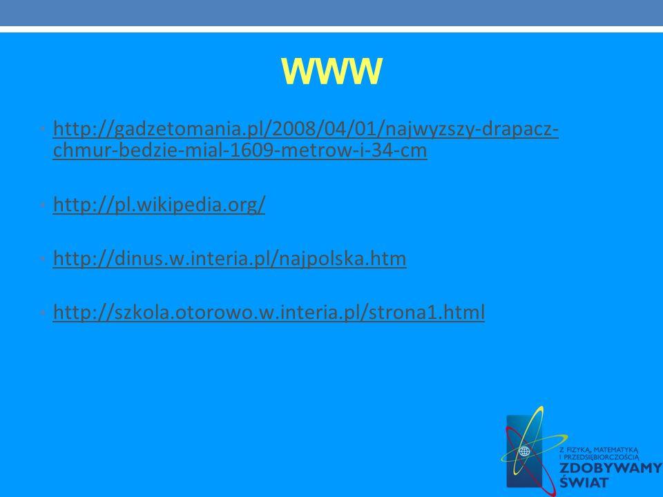 WWW http://gadzetomania.pl/2008/04/01/najwyzszy-drapacz- chmur-bedzie-mial-1609-metrow-i-34-cm. http://pl.wikipedia.org/