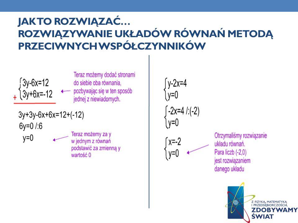Jak to rozwiązać… Rozwiązywanie Układów Równań Metodą przeciwnych współczynników