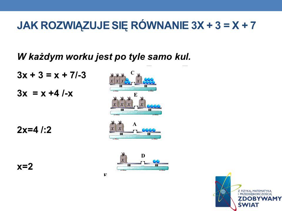 jak rozwiązuje się równanie 3x + 3 = x + 7