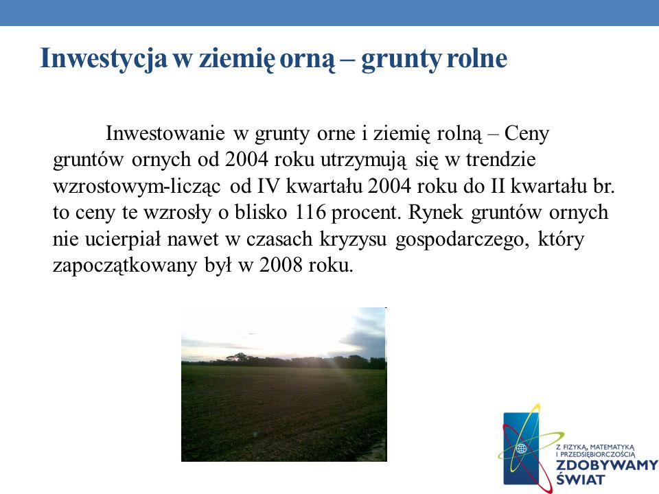 Inwestycja w ziemię orną – grunty rolne