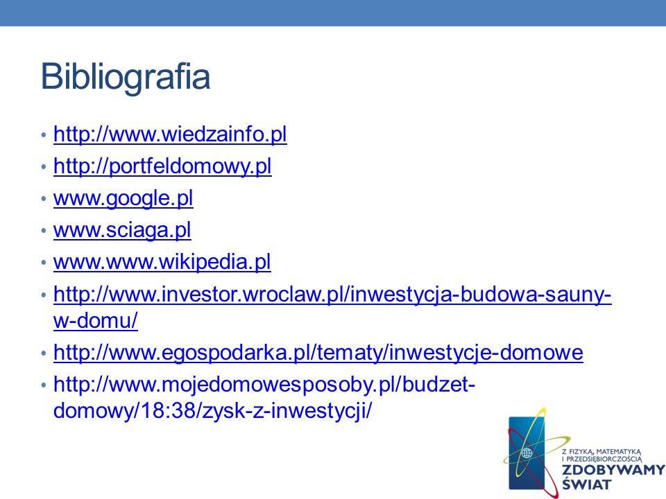 Bibliografia http://www.wiedzainfo.pl http://portfeldomowy.pl