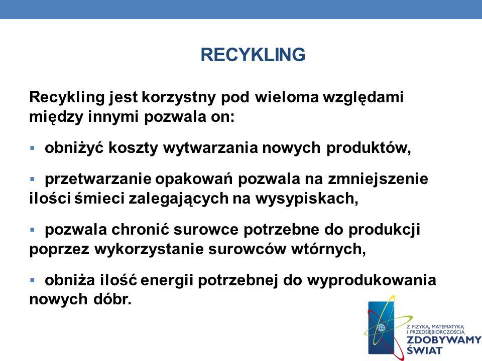 Recykling Recykling jest korzystny pod wieloma względami między innymi pozwala on: obniżyć koszty wytwarzania nowych produktów,