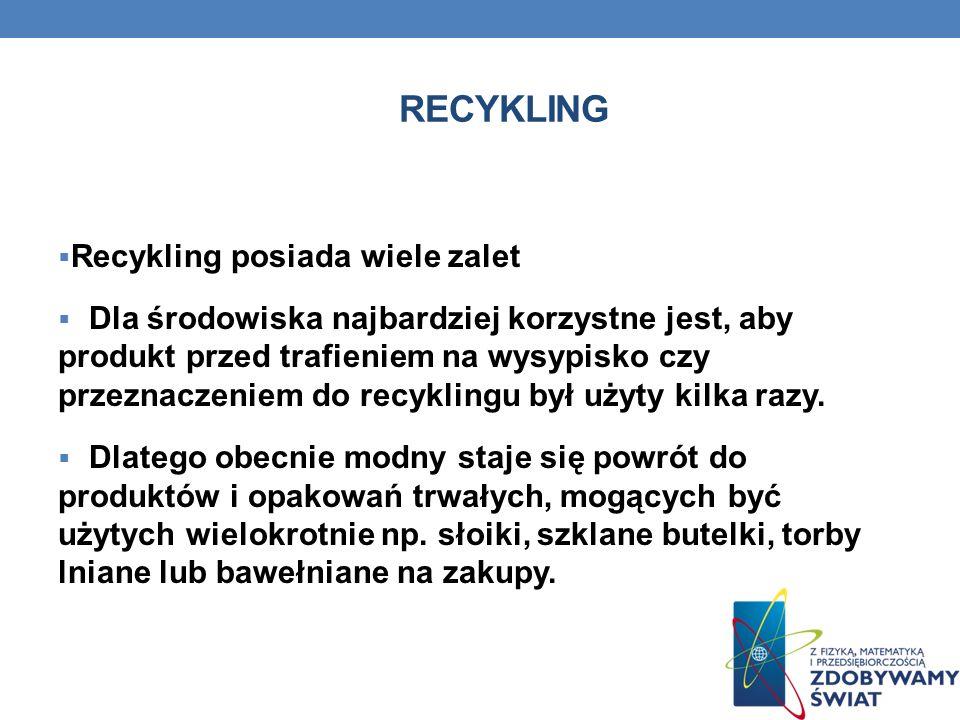 Recykling Recykling posiada wiele zalet