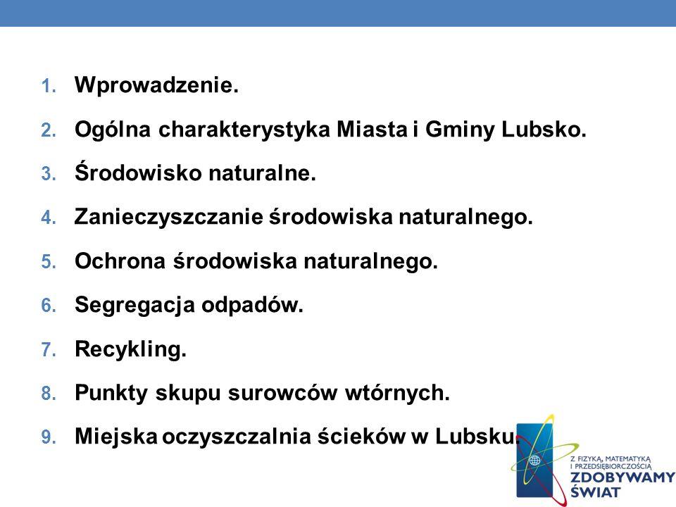 Wprowadzenie. Ogólna charakterystyka Miasta i Gminy Lubsko. Środowisko naturalne. Zanieczyszczanie środowiska naturalnego.