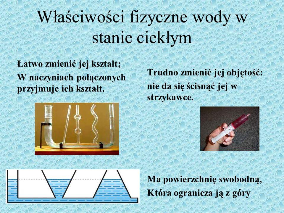 Właściwości fizyczne wody w stanie ciekłym
