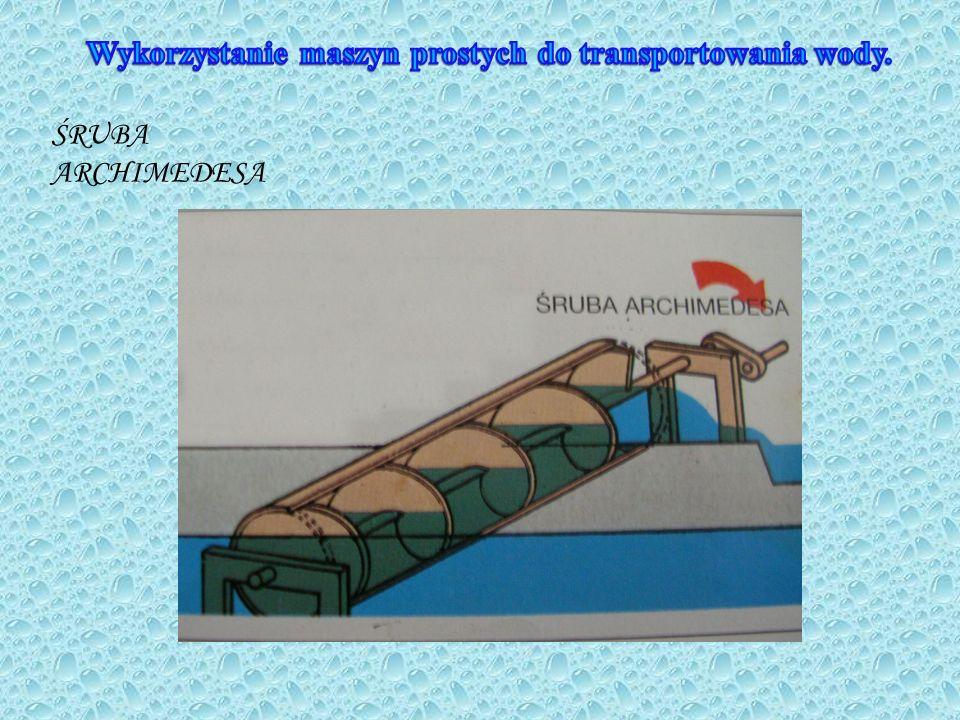 Wykorzystanie maszyn prostych do transportowania wody.