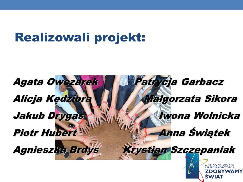 Realizowali projekt: Agata Owczarek Patrycja Garbacz