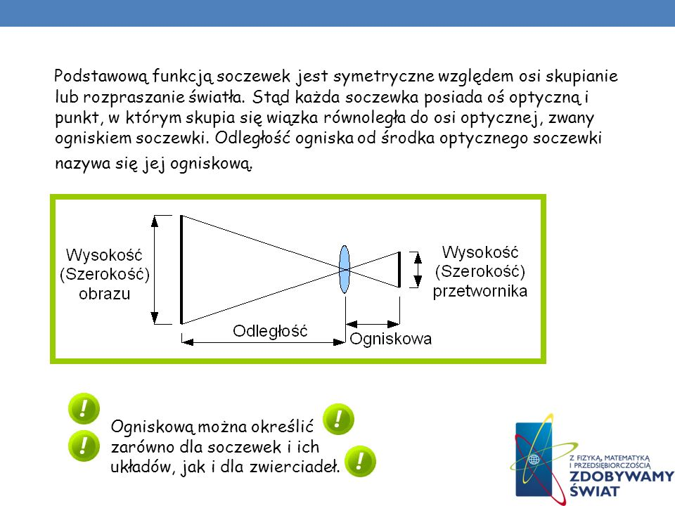 Podstawową funkcją soczewek jest symetryczne względem osi skupianie lub rozpraszanie światła. Stąd każda soczewka posiada oś optyczną i punkt, w którym skupia się wiązka równoległa do osi optycznej, zwany ogniskiem soczewki. Odległość ogniska od środka optycznego soczewki nazywa się jej ogniskową.