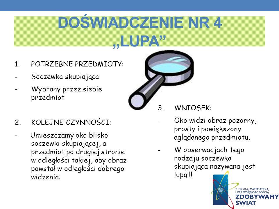 """DOŚWIADCZENIE NR 4 """"LUPA"""