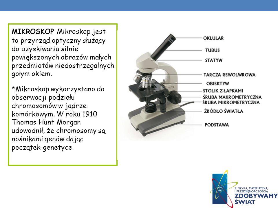 MIKROSKOP Mikroskop jest to przyrząd optyczny służący do uzyskiwania silnie powiększonych obrazów małych przedmiotów niedostrzegalnych gołym okiem.
