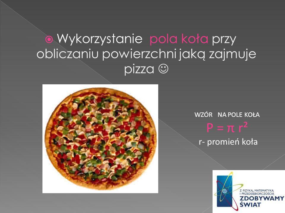 Wykorzystanie pola koła przy obliczaniu powierzchni jaką zajmuje pizza 