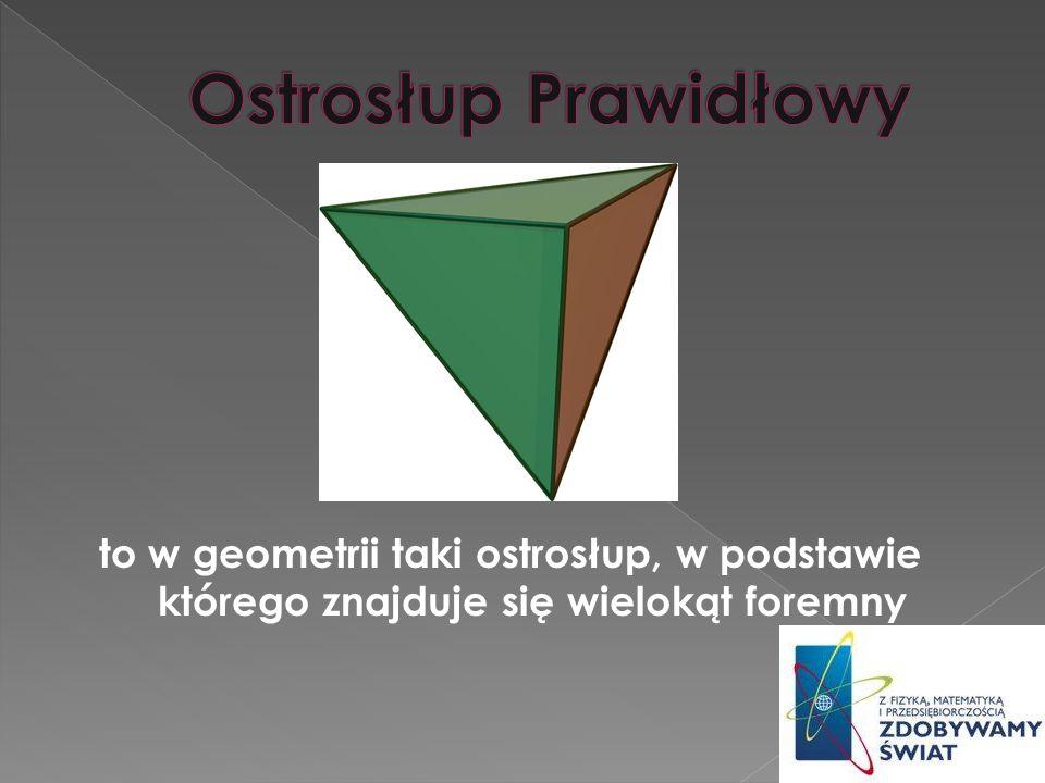 Ostrosłup Prawidłowy to w geometrii taki ostrosłup, w podstawie którego znajduje się wielokąt foremny.