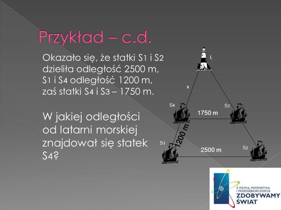Przykład – c.d. 1750 m. 2500 m. 1200 m. x. L. S4. S3. S1. S2.