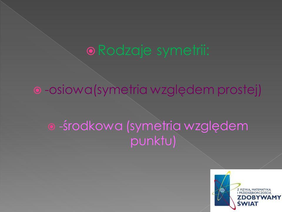 Rodzaje symetrii: -osiowa(symetria względem prostej)