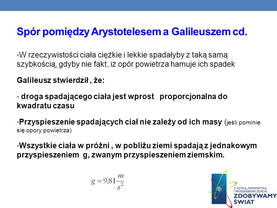 Spór pomiędzy Arystotelesem a Galileuszem cd.
