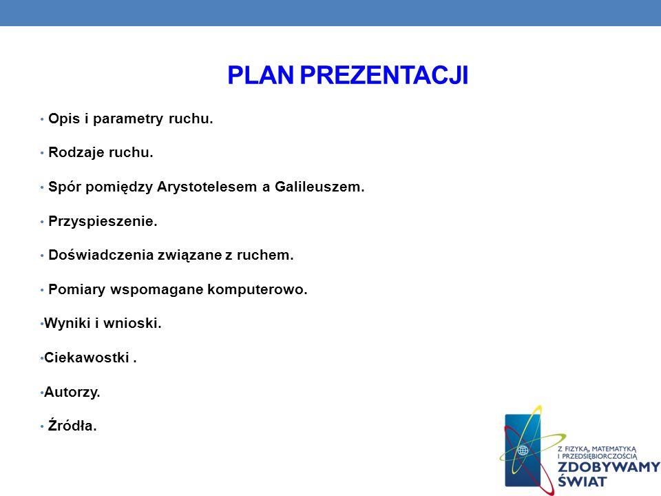 Plan prezentacji Opis i parametry ruchu. Rodzaje ruchu.
