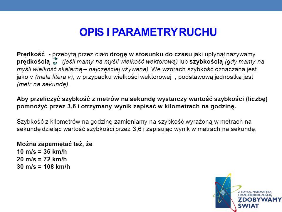 Opis i parametry ruchu
