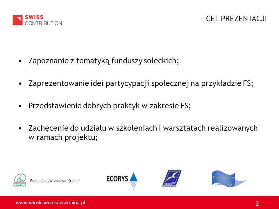 CEL PREZENTACJI Zapoznanie z tematyką funduszy sołeckich; Zaprezentowanie idei partycypacji społecznej na przykładzie FS;