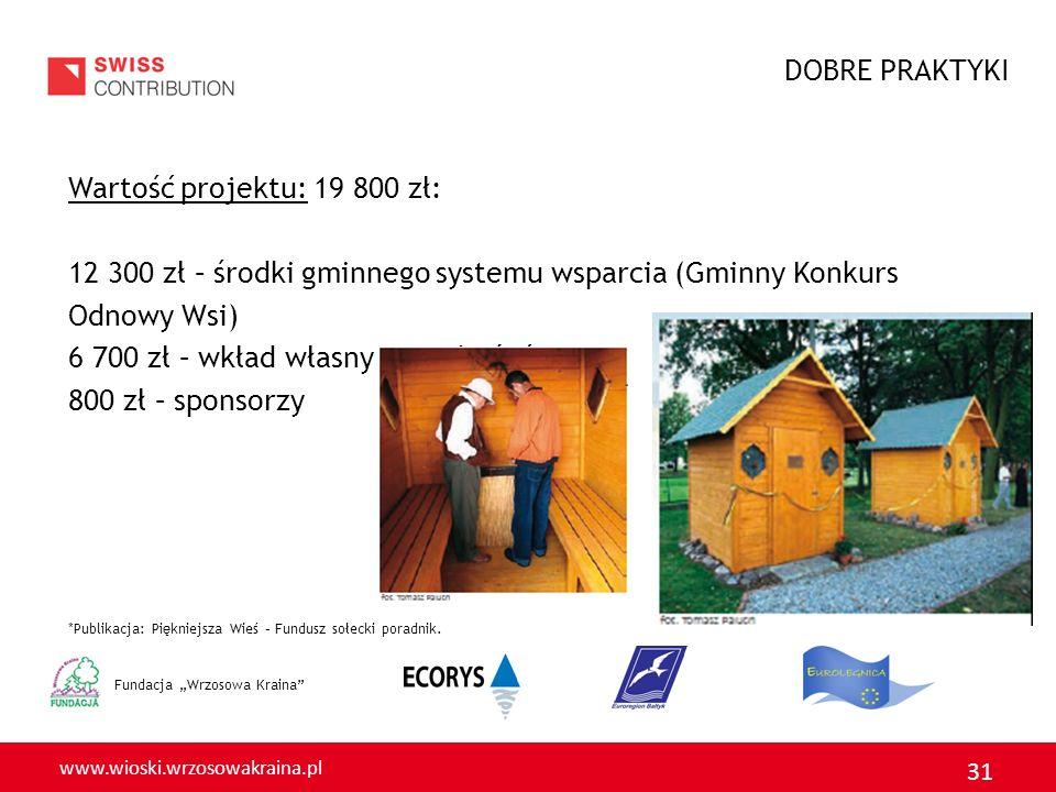 12 300 zł – środki gminnego systemu wsparcia (Gminny Konkurs