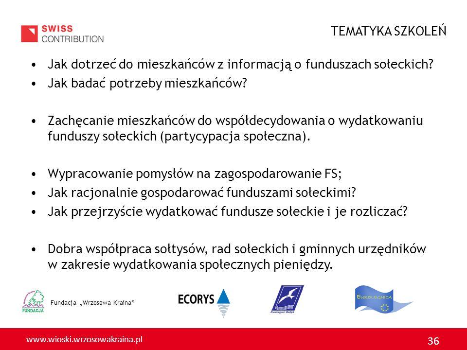 TEMATYKA SZKOLEŃ Jak dotrzeć do mieszkańców z informacją o funduszach sołeckich Jak badać potrzeby mieszkańców