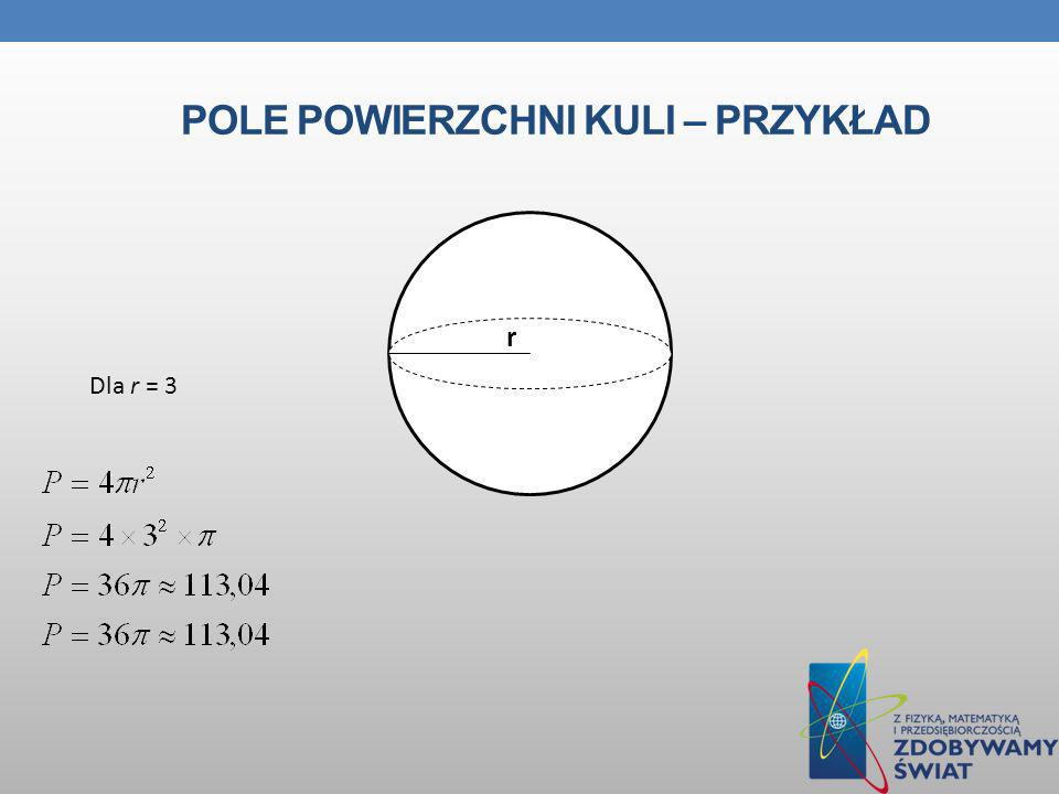 Pole powierzchni kuli – przykład