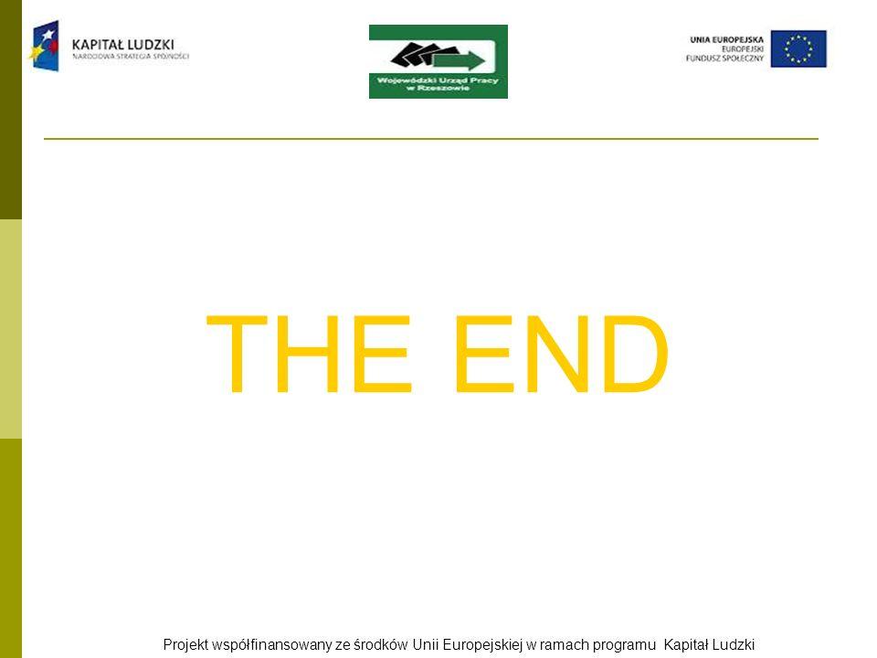 THE END Projekt współfinansowany ze środków Unii Europejskiej w ramach programu Kapitał Ludzki