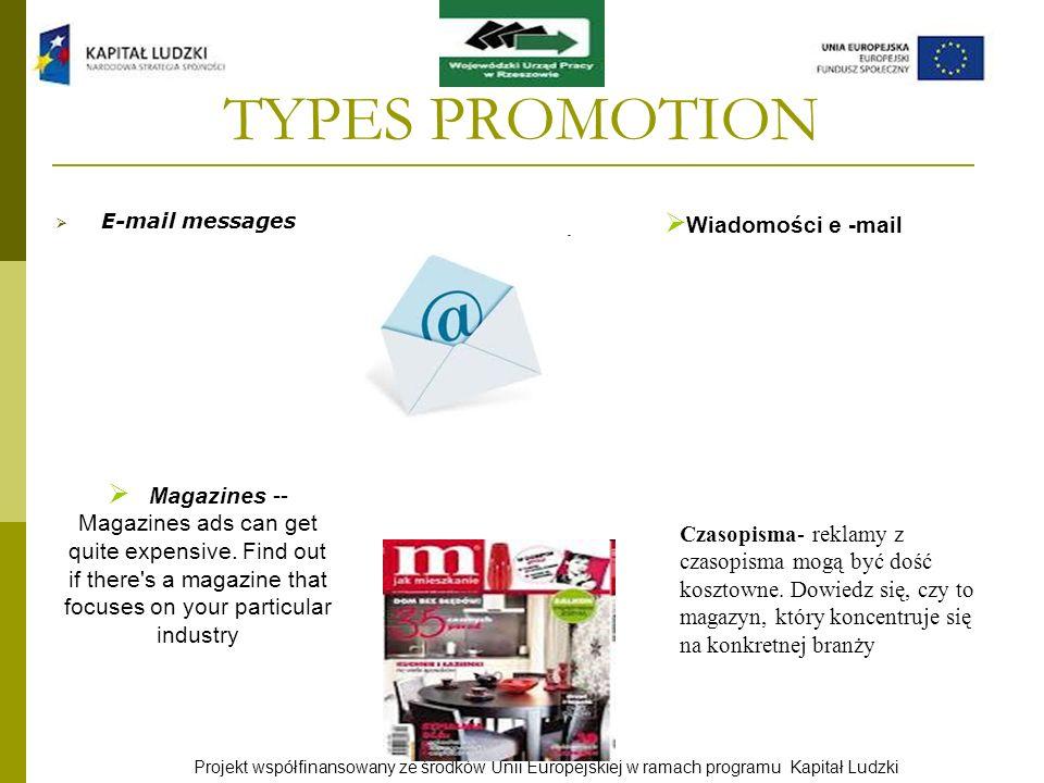 TYPES PROMOTION Wiadomości e -mail