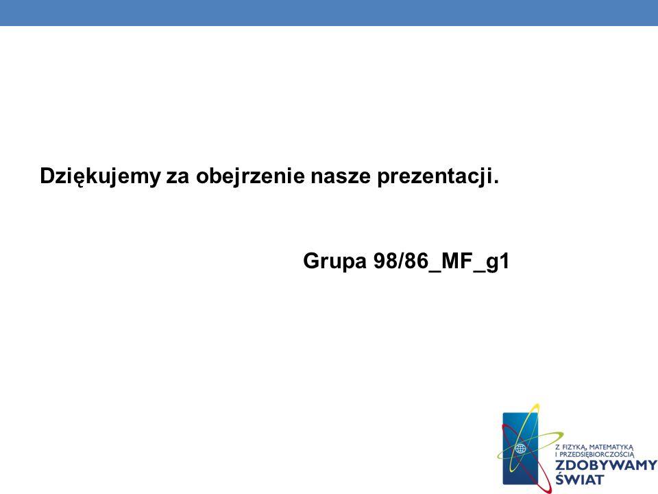 Dziękujemy za obejrzenie nasze prezentacji. Grupa 98/86_MF_g1