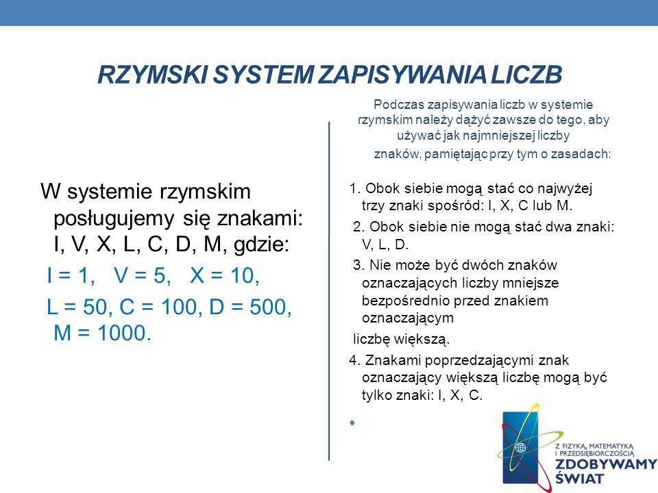 Rzymski system zapisywania liczb