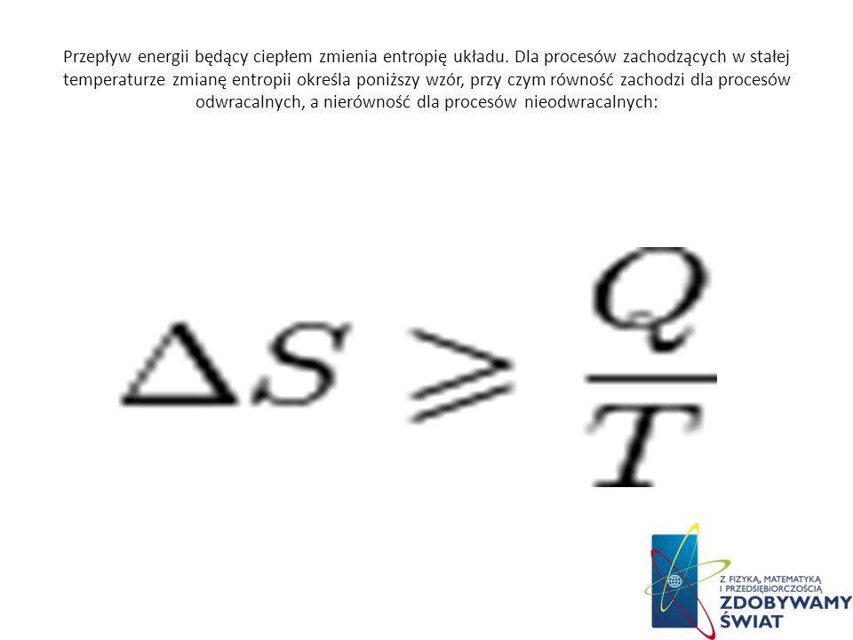 Przepływ energii będący ciepłem zmienia entropię układu