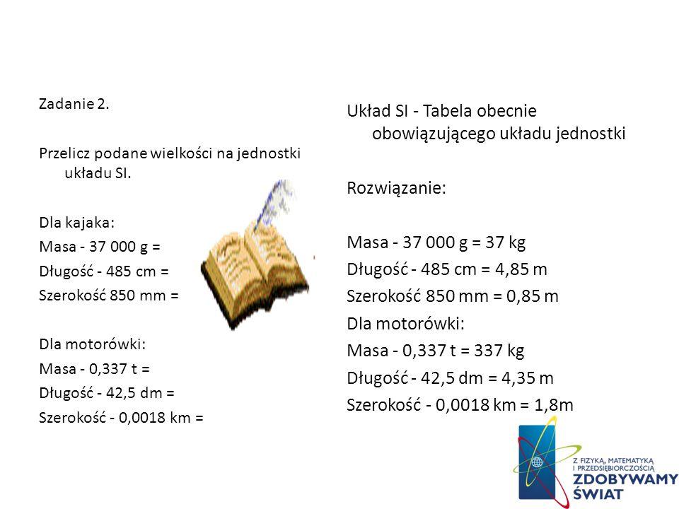 Układ SI - Tabela obecnie obowiązującego układu jednostki Rozwiązanie: