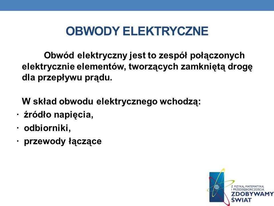 OBWODY ELEKTRYCZNE Obwód elektryczny jest to zespół połączonych elektrycznie elementów, tworzących zamkniętą drogę dla przepływu prądu.