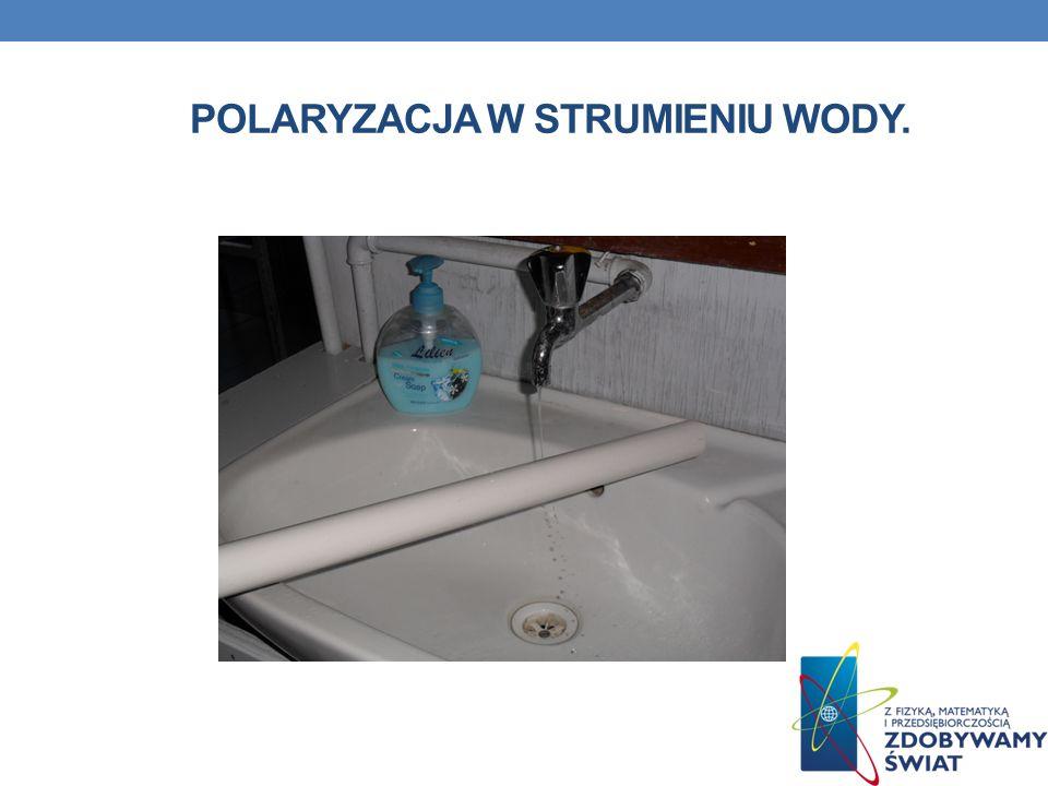 Polaryzacja w strumieniu wody.
