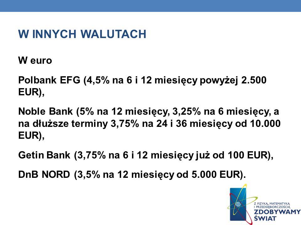 W INNYCH WALUTACH W euro