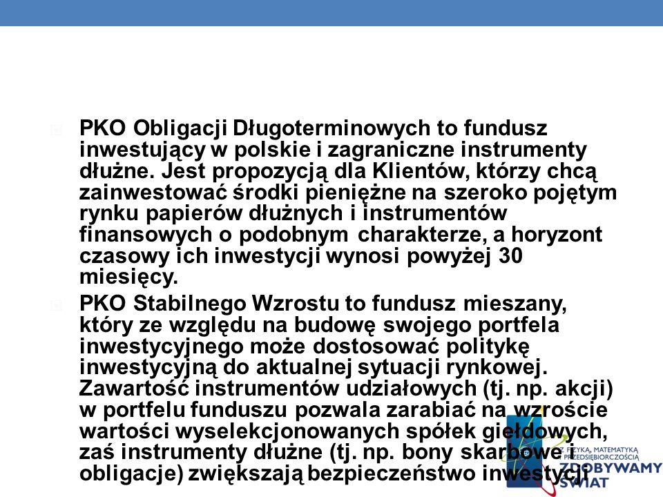 PKO Obligacji Długoterminowych to fundusz inwestujący w polskie i zagraniczne instrumenty dłużne. Jest propozycją dla Klientów, którzy chcą zainwestować środki pieniężne na szeroko pojętym rynku papierów dłużnych i instrumentów finansowych o podobnym charakterze, a horyzont czasowy ich inwestycji wynosi powyżej 30 miesięcy.