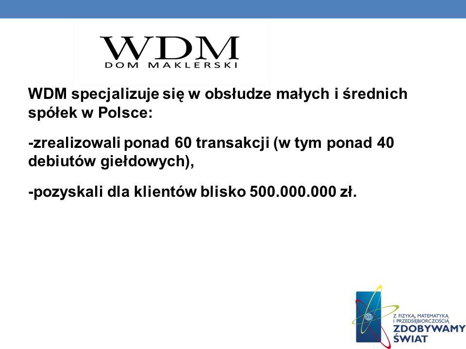 WDM specjalizuje się w obsłudze małych i średnich spółek w Polsce: