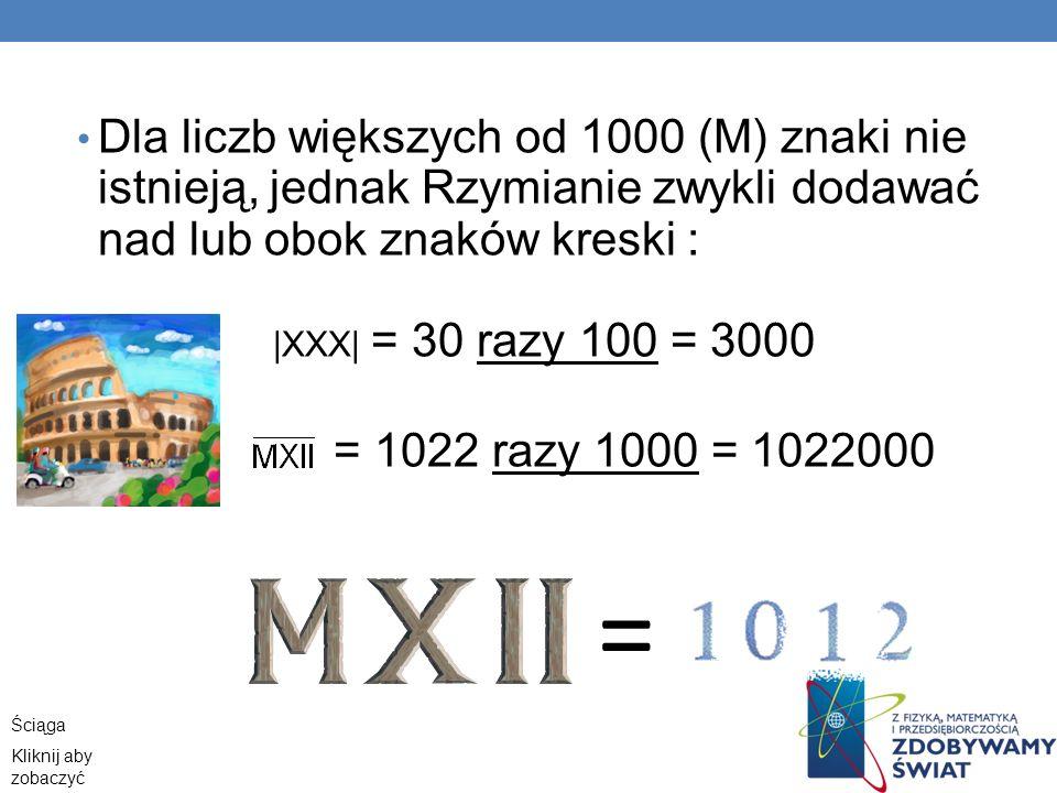 Dla liczb większych od 1000 (M) znaki nie istnieją, jednak Rzymianie zwykli dodawać nad lub obok znaków kreski :