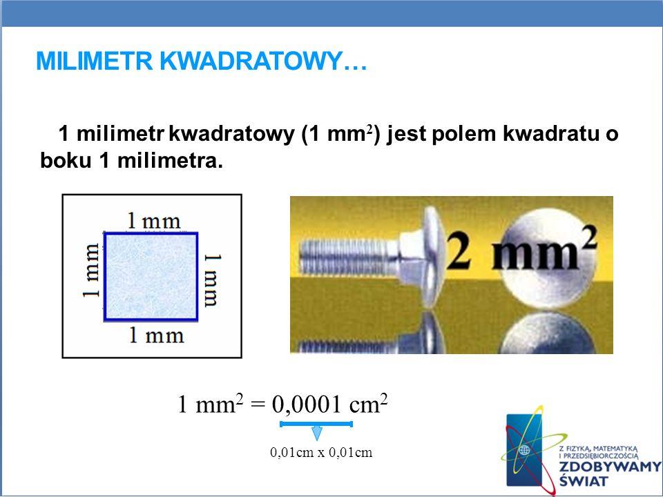 Milimetr kwadratowy… 1 mm2 = 0,0001 cm2