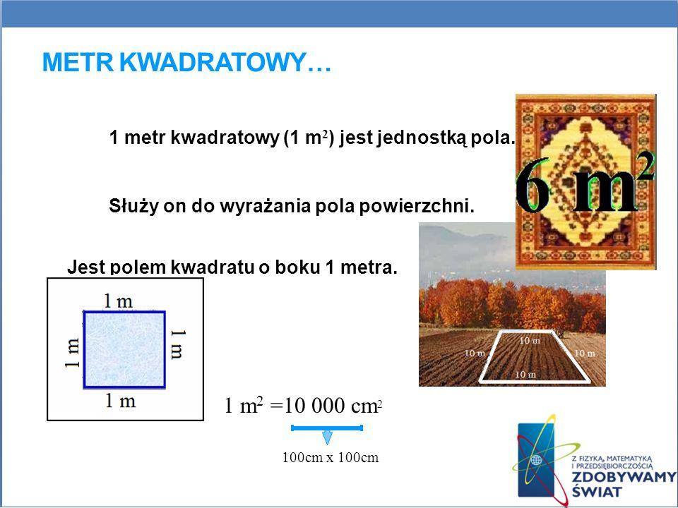 Metr kwadratowy… 1 metr kwadratowy (1 m2) jest jednostką pola.