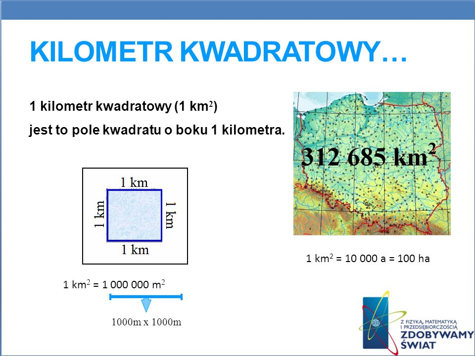 Kilometr kwadratowy… 1 kilometr kwadratowy (1 km2)