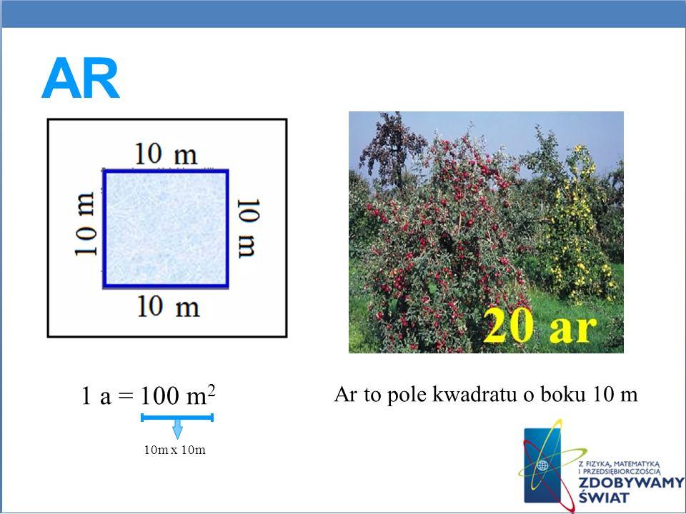 Ar 1 a = 100 m2 Ar to pole kwadratu o boku 10 m 10m x 10m