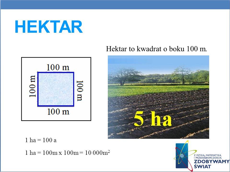 Hektar to kwadrat o boku 100 m.