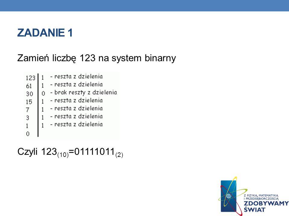 Zadanie 1 Zamień liczbę 123 na system binarny Czyli 123(10)=01111011(2)