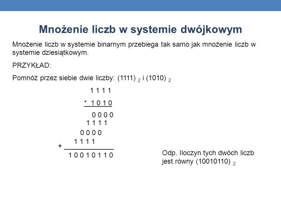 Mnożenie liczb w systemie dwójkowym
