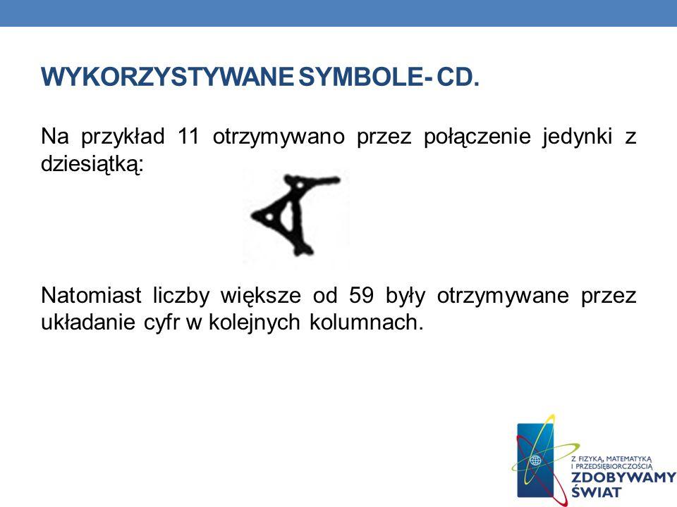 Wykorzystywane symbole- cd.