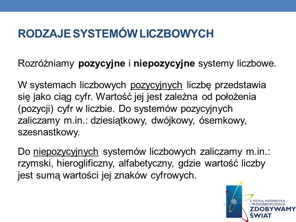 Rodzaje systemów liczbowych