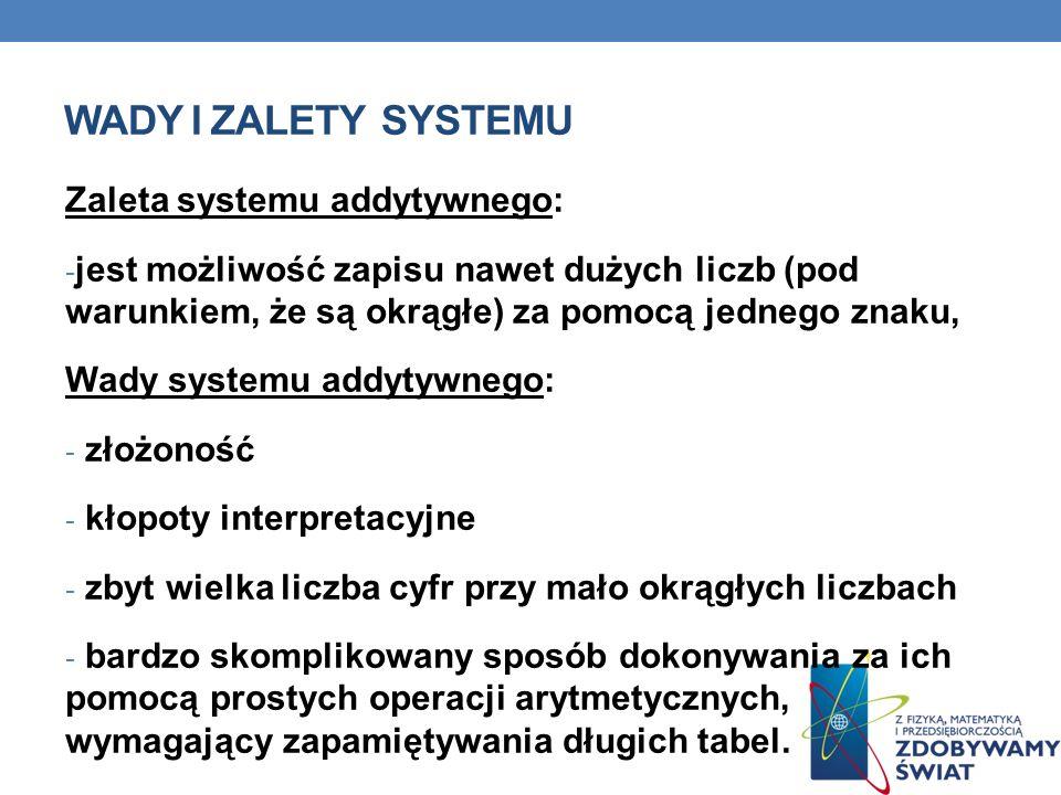 Wady i zalety systemu Zaleta systemu addytywnego: