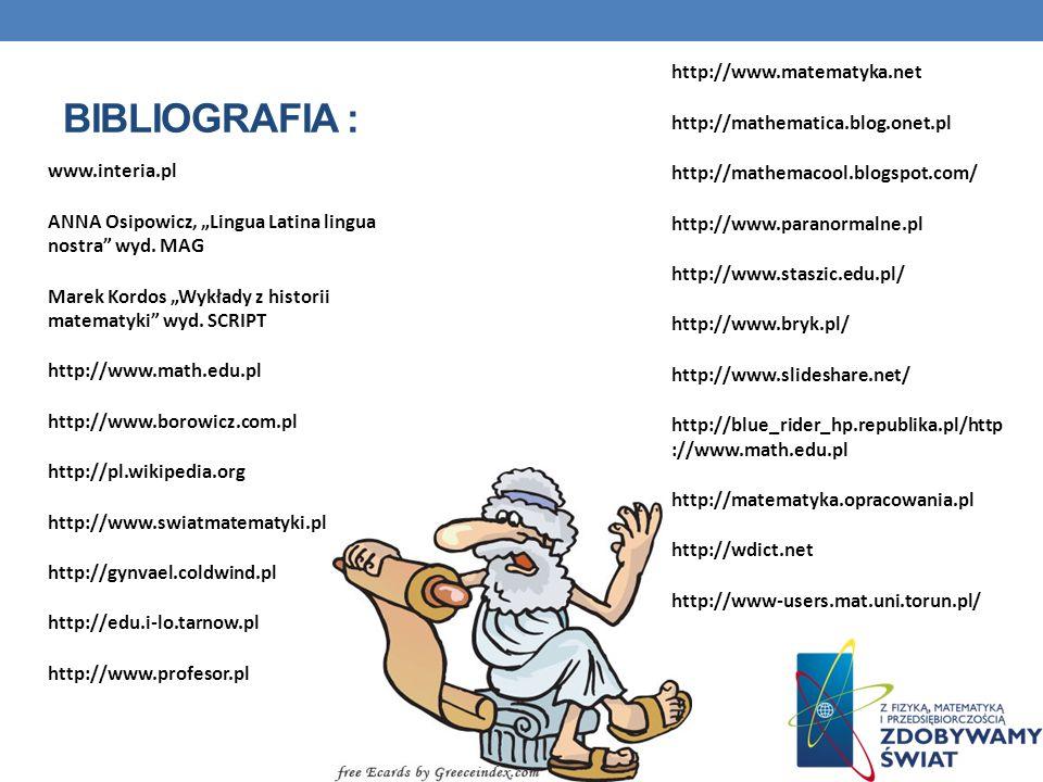 Bibliografia : http://www.matematyka.net